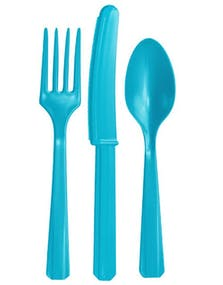 Ljusblå Plastbestickset 24 Delar dc7cb8ec4af95