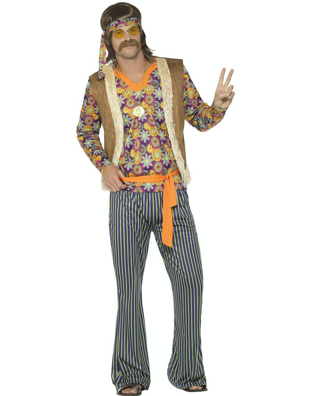 db393b85 60-talls Hippie Herrekostyme 5 Deler