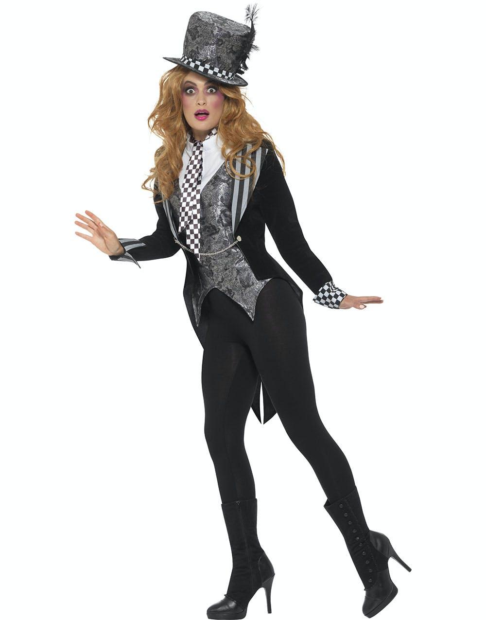 Miss Mad Hatter Inspirerad 4 Delars Kostym 6cc918149b686