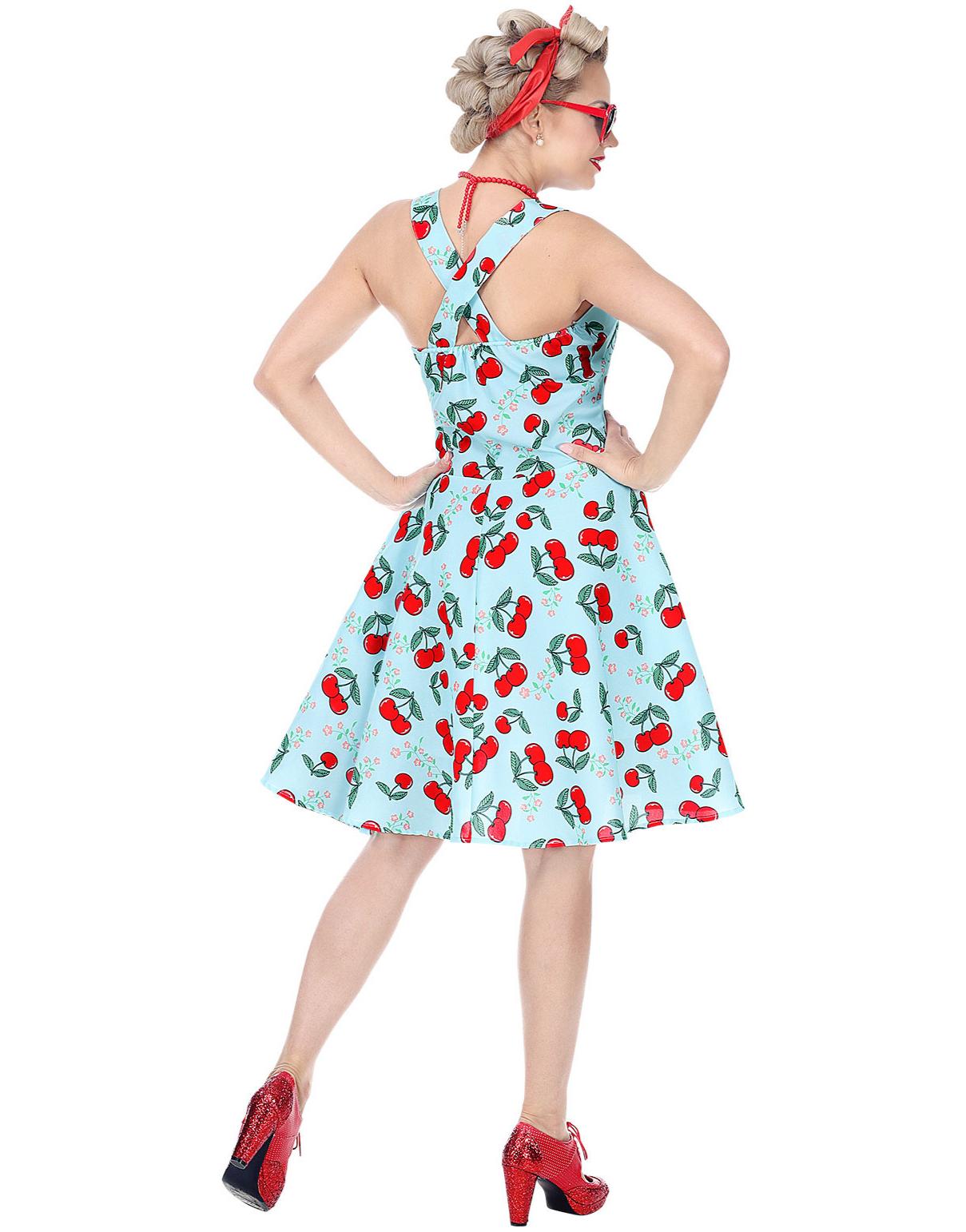Lys Blå 50 talls Kostymekjole med Underskjørt og Kirsebær Motiv