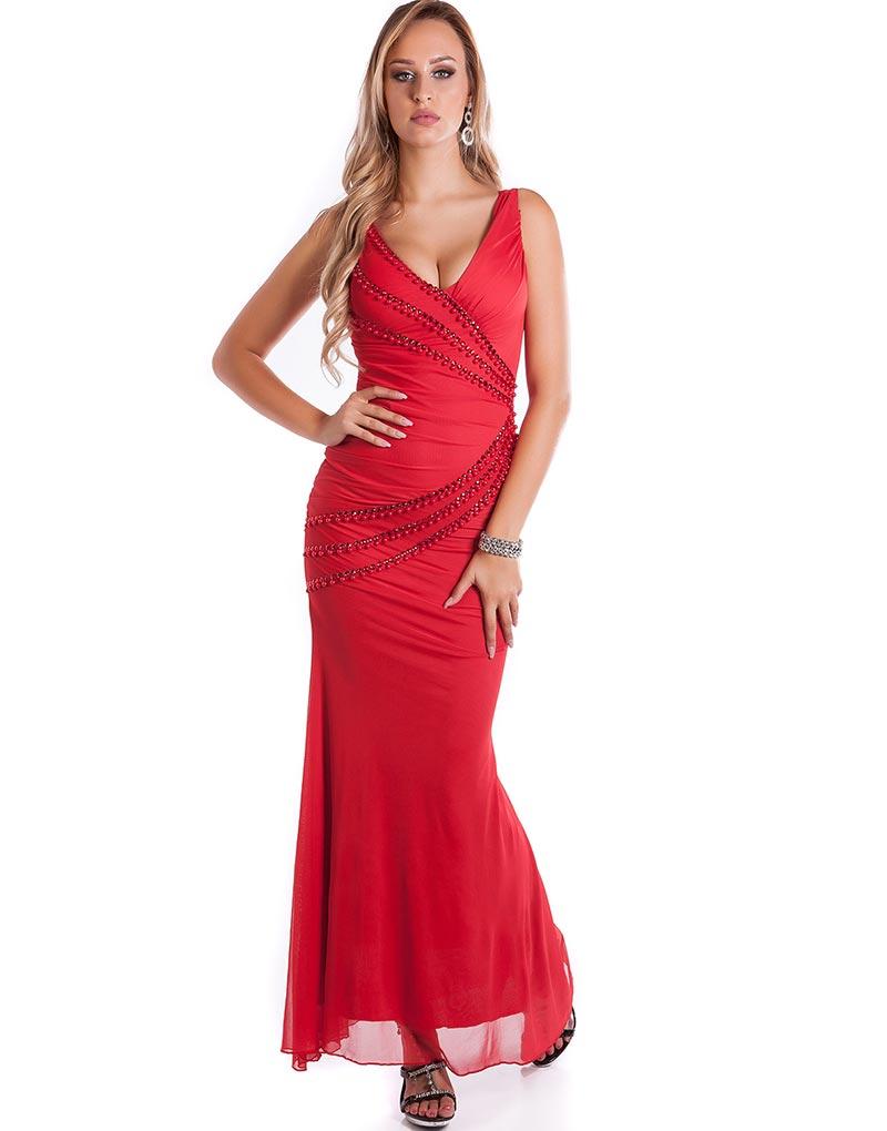 Läcker Lång Röd Klänning Dekorerad med Pärlor