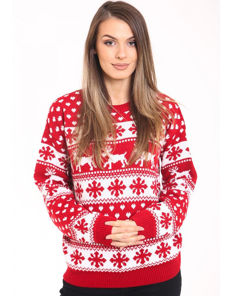 PLUS SIZE Hvit og Rød Strikket Julegenser med Snøfnugg og
