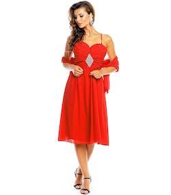 Röd Festklänning med Smycke och Sjal 8e5c7072ae854
