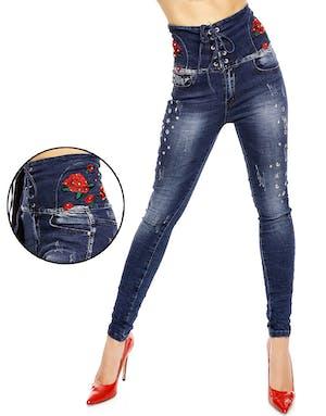 5504b76f Mørk Blå Jeans med Høyt Liv, Blomster og Nagler