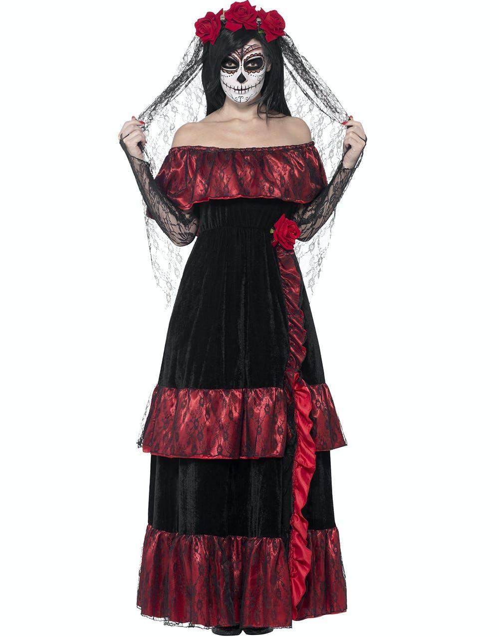 Day of the Dead Senorita - Damdräkt med Huvudpynt - Maskeradkläder ... 46d47cf81dce5