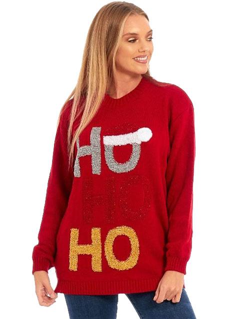 Rød HOHOHO Julegenser med Glitter Julegensere Gensere