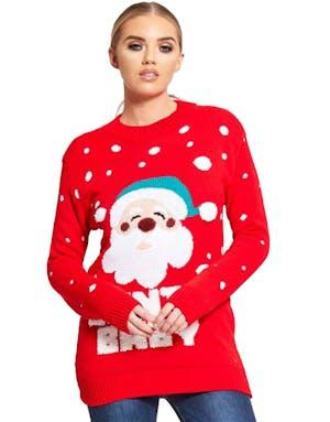 080d7eda2 Santa Baby - Rød Julegenser med Nissemotiv