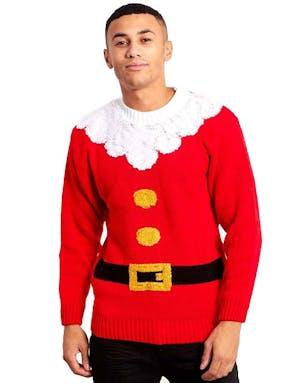 6be00e601 Rød Julenisse Genser til Mann med Plysjkanter
