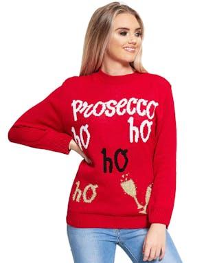 ba584f53 Prosecco Ho Ho Ho - Rød Strikket Julegenser - Julegensere - Gensere ...