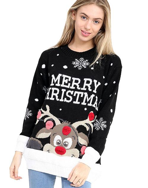 Merry Christmas Svart Rudolf Jultröja med Pom Poms