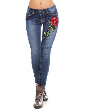 0a882eb2b5c5 Blå Skinny Jeans med Fastsydd Ros och Pärlor