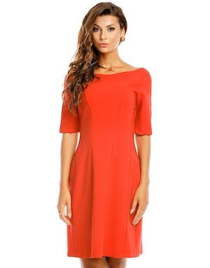56d7259e Rød Kjole med Halvlange Ermer