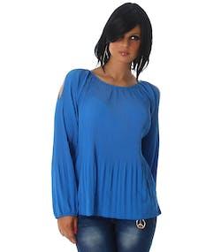 Blå Cold-Shoulder Blus med Knytning i Nacken f7c217605f6bf