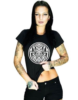 super popular fea1a e2ed2 kvinnliga bröstets uppbyggnad och lymfdränage Wolf Tribal - Svart T-Shirt