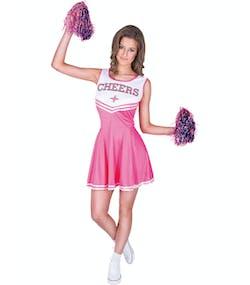 Cheers - Rosa Cheerleaderdräkt med Pom Poms 4a01a9915cf40