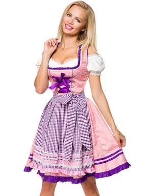 55f40bf160ef Lyxig Dirndl Damaskmönstrad Korsettklänning med Förkläde