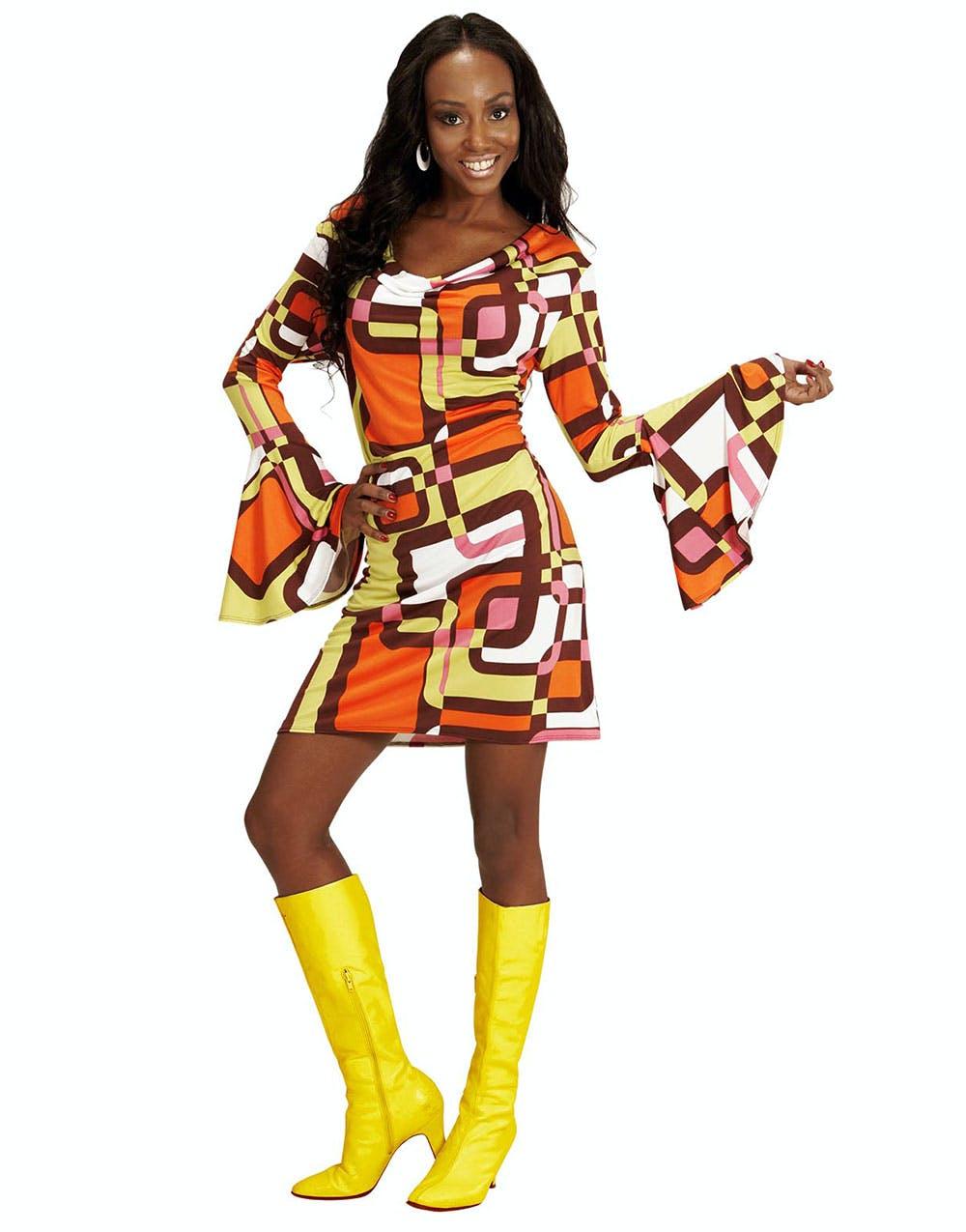 e634ffb23fdc 70-tals Retro Rutor Kostymklänning
