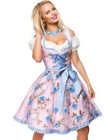 3994b650 Lys Rosa Dirndl Oktoberfestkjole i Luksuskvalitet med Utformet Blomster på  Forkle