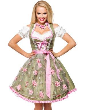 6170532e Grønn Dirndl Oktoberfestkjole i Luksuskvalitet med Utformet Blomster på  Forkle