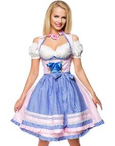 bfc3a294 Lys Rosa Luksus Dirndl-Oktoberfestkjole i Luksuskvalitet med Rutete Forkle