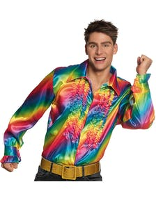 494a7d0e Regnbuefarget Kostymeskjorte i Sateng med Volanger