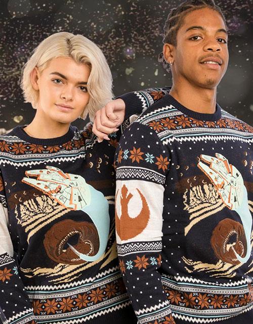 Licensierad Stickad Star Wars Millennium Falcon Jultröja
