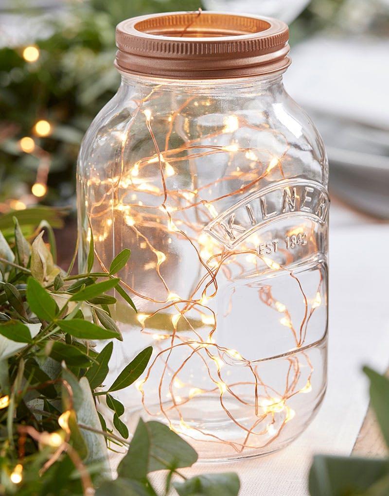 Ypperlig Ekstra Tynn Kobber-lyslenke med 60 LED lys - 3 Meter - Botanisk Bryllu LJ-77