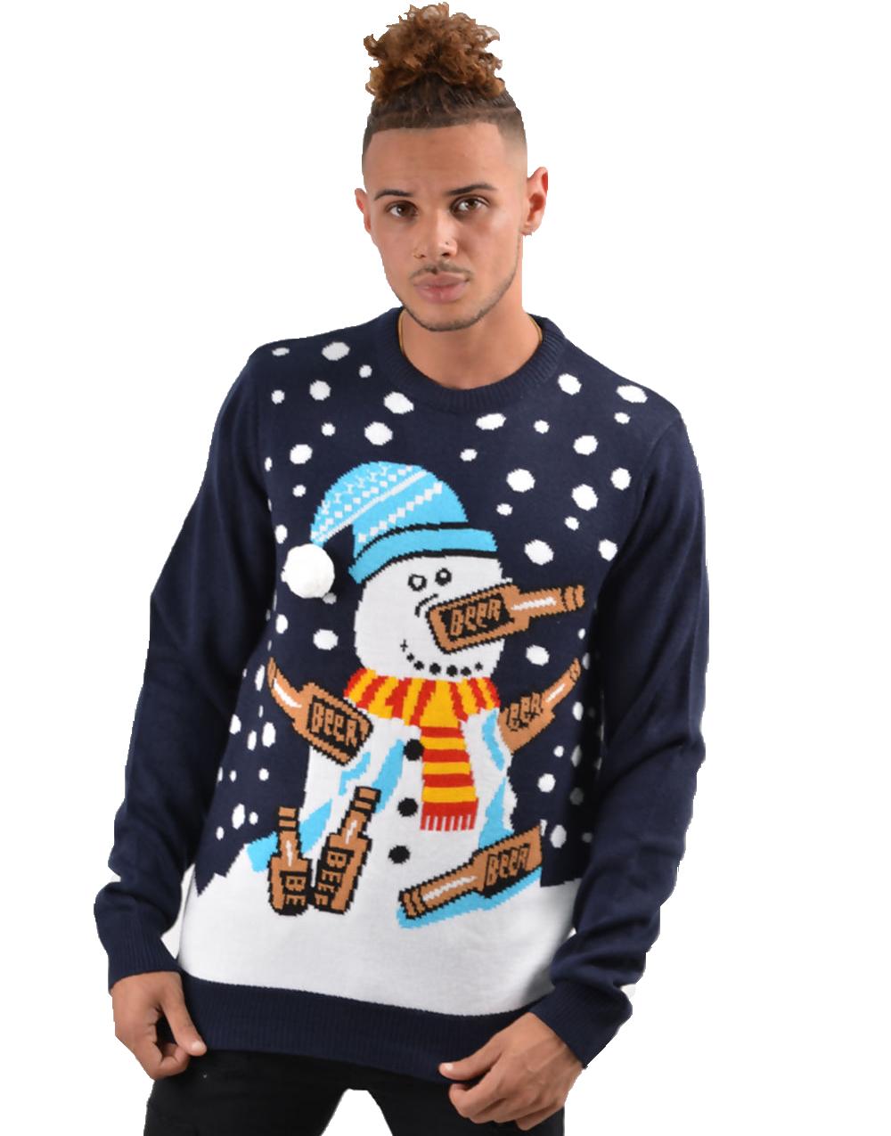 Grå Strikket Pingvin Julegenser til Mann Julegensere
