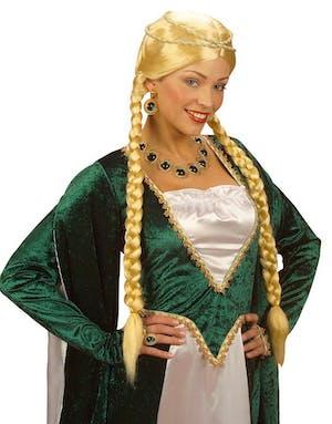 Blond Peruk med långa Flätor och Huvudpynt fde6d0559d9d7
