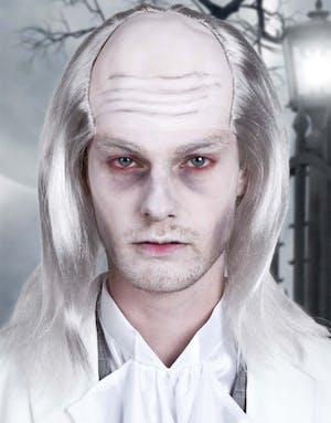 Zombie Vampyrperuk med flint och långt grått hår 6e89c3d902715