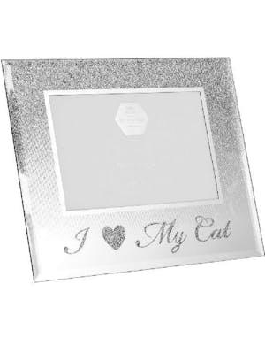 Topp I Love My Cat - Silverfärgad Bildram med Glitter 21x17 cm HV-46