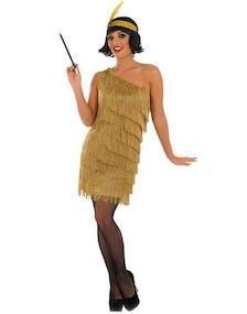 Guldfärgad Flapper Lady Kostym - STORA STORLEKAR 5a726a561a06a