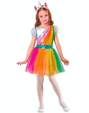Regnbågsfärgad Enhörningsdräkt till Barn b987d219e7418