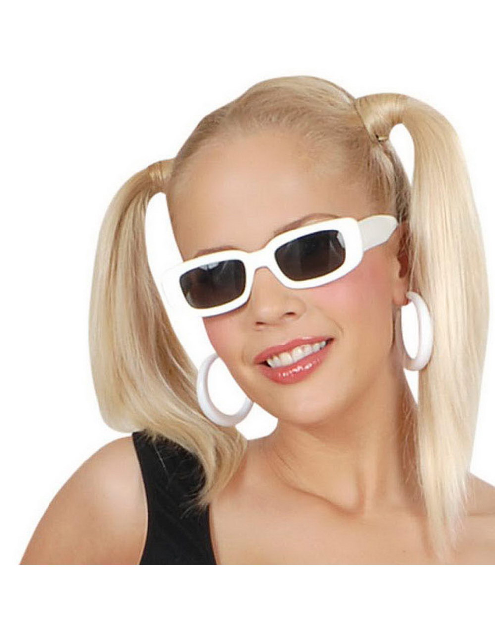 Firkantede Hvite Solbriller med Svart Glass