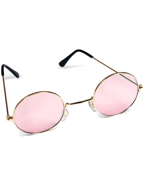 54d6e9d5453f Runde Gullfargede Hippiebriller med Rosa Glass
