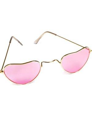 2866383f318a Hippiebriller med Hjerterammer og Rosa Glass