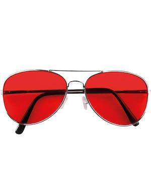 9a69fc3ddde3 Sølvfargede Pilotbriller med Rødt Glass