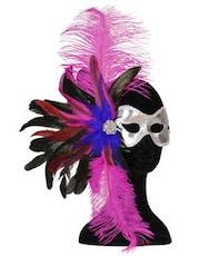 f0a099d908a4 Brazilian Mask - Sølvfarget Øyemaske med Rød Fjær