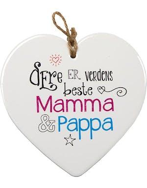 70e9ea9d Verdens beste Mamma og Pappa - Porselenshjerte med Tekst 15 cm