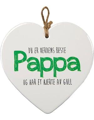 2039b7a8 Verdens Beste Pappa - Porselenshjerte med Tekst 15 cm
