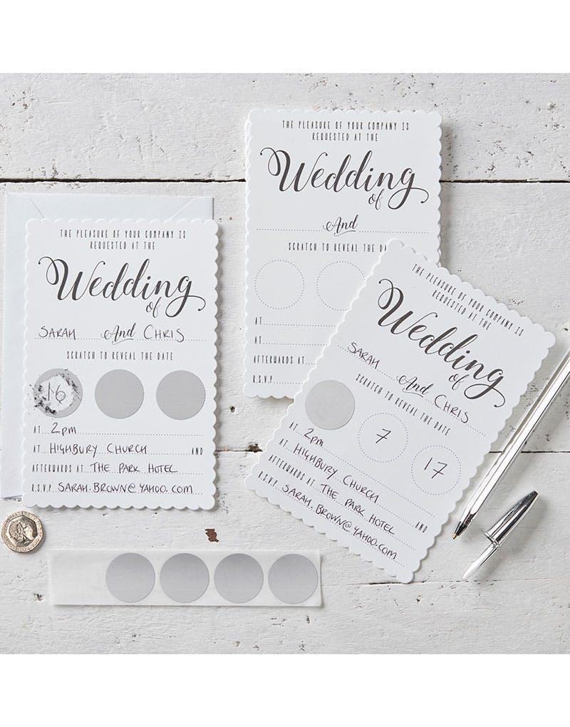 10 stk hvite unike skraplodd bryllupsinvitasjoner