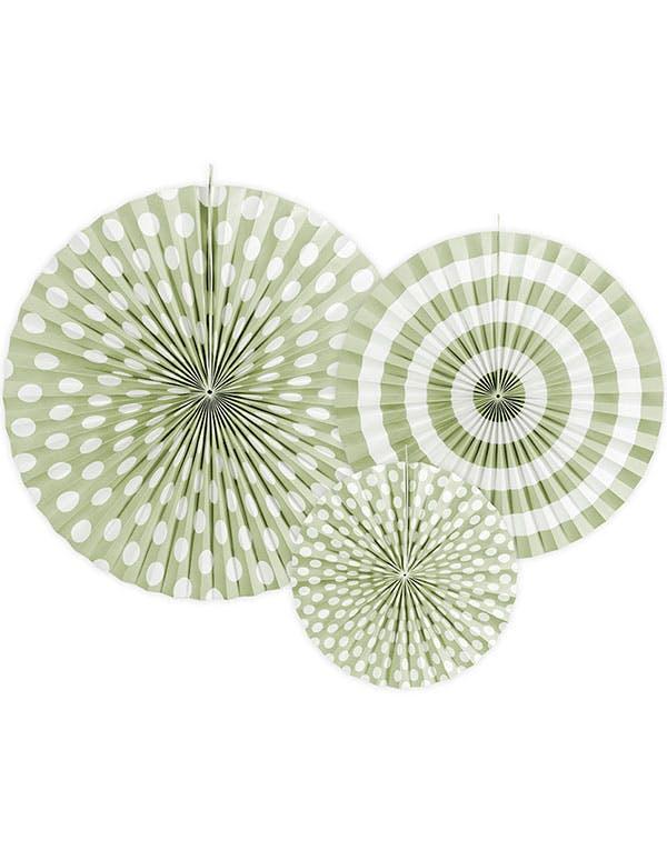 947e18df 3 stk Grønn og Hvit Papirvifter i Forskjellige Størrelser - Sweet Pastel ...