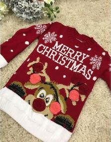 Merry Christmas - Röd Jultröja till Barn med Rudolf-Motiv d64cb04ef5b8e