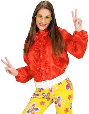 Röd Satin Skjorta med Volang 923967aaa60c6