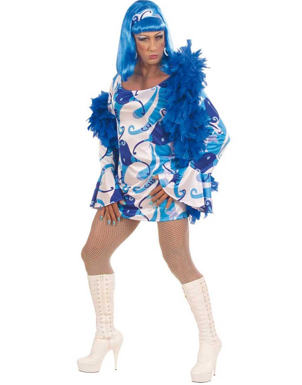Groovy Chic Drag Queen Kostym - Blå og andre Diverse 09f6e40282098