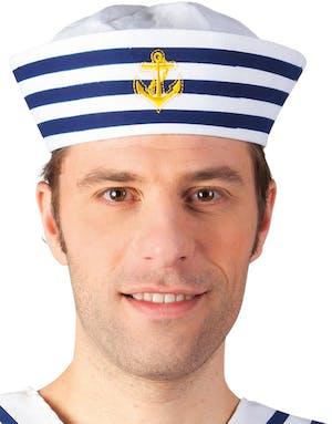 d41c90e3 Hvit Matroshatt med Blå Striper og Gullfarget Anker - Sailor ...