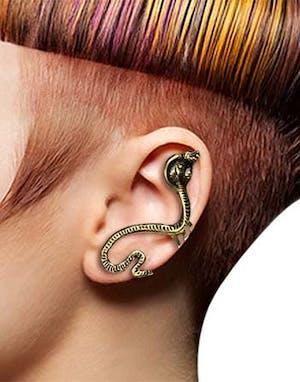 90bdcef65142 Mørk Gull Ear Cuff med Kobra Slange