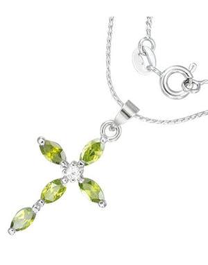 Crystal Cross - Silverfärgat Smycke med Gröna Stenar 9e1f69e18707b
