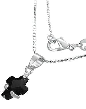 Silverfärgat Smycke med Svart Stenkors 2e1ed4b18db2a