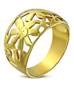 Guldfärgad Stålring med Stansade Blommor 3040398387510